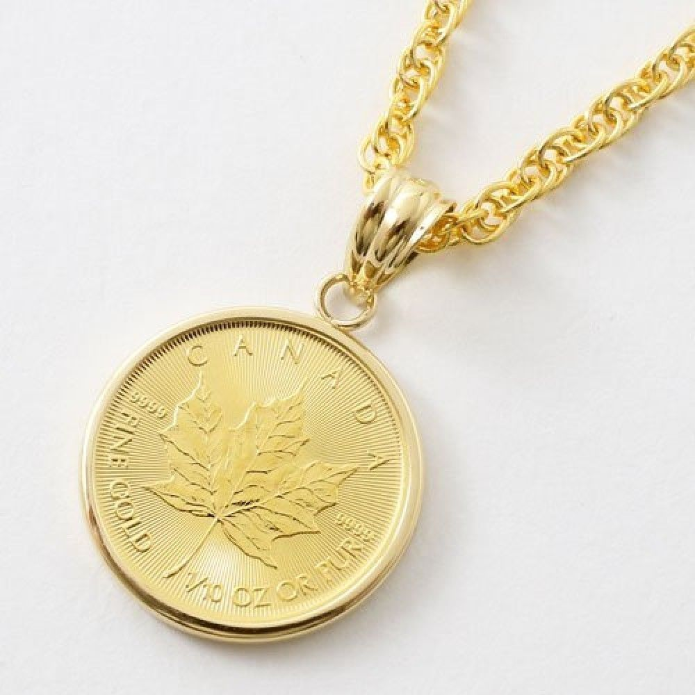 Coin Pendant Gold K24 Canadian Government Issued Maple Leaf 1 10 Oz From Japan Jewelrywalk Chain Money Necklace Coin Pendant Gold Coins Money