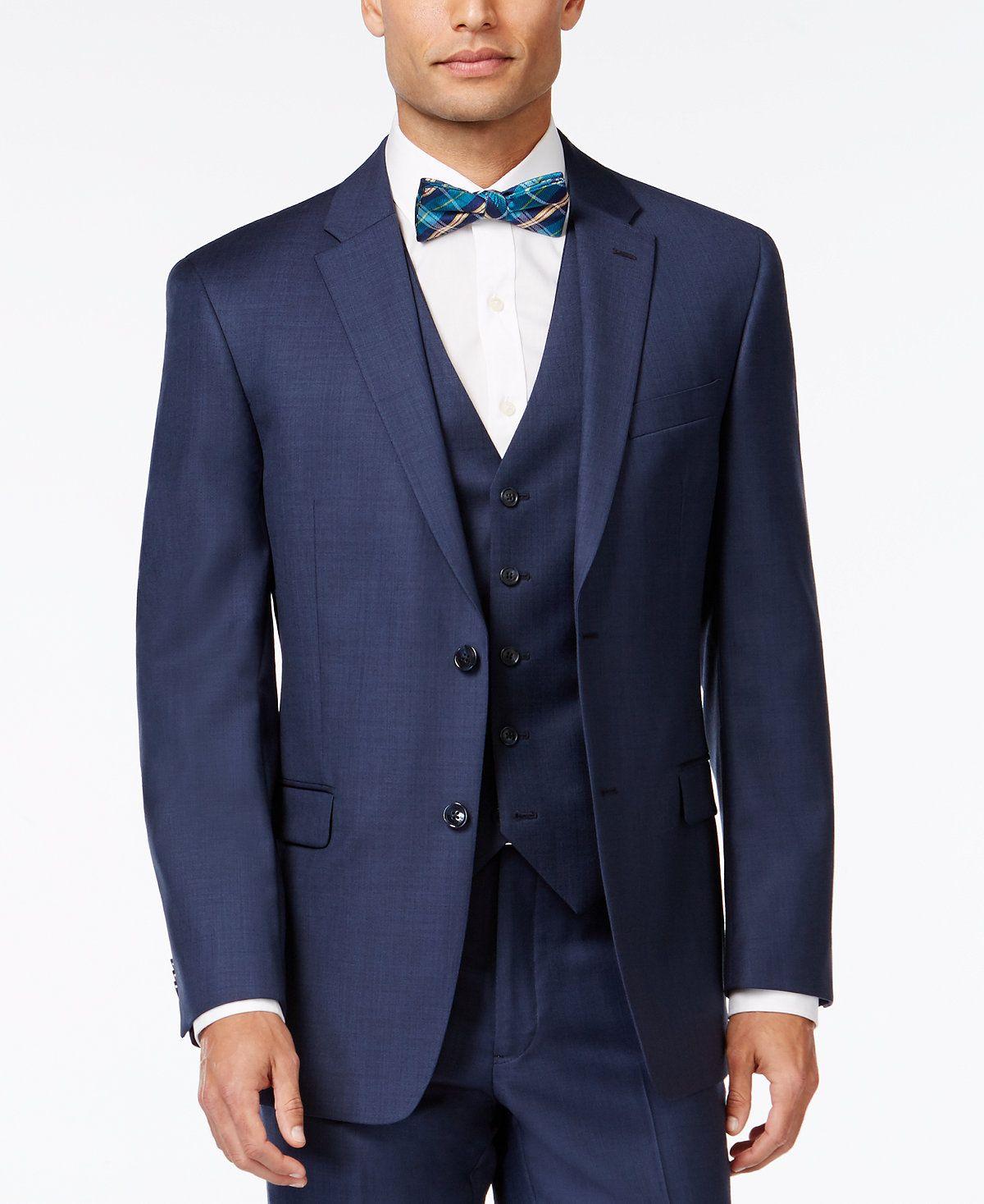 Tommy Hilfiger Blue Sharkskin ClassicFit Jacket Suits