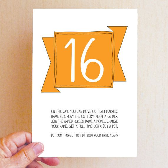 16th Birthday Card Funny Birthday Card Funny 16 Card On This