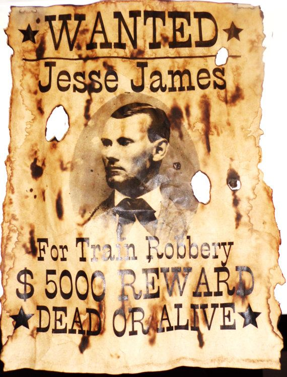 Aged Jesse James Wanted Poster Replica Print by HallOfRelics, $10.00