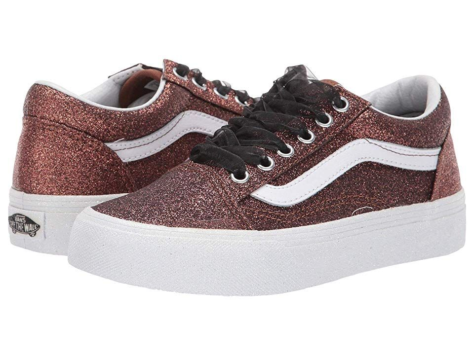 07099ac440c57a Vans Kids Old Skool (Little Kid Big Kid) ((Glitter) Bronze True ...