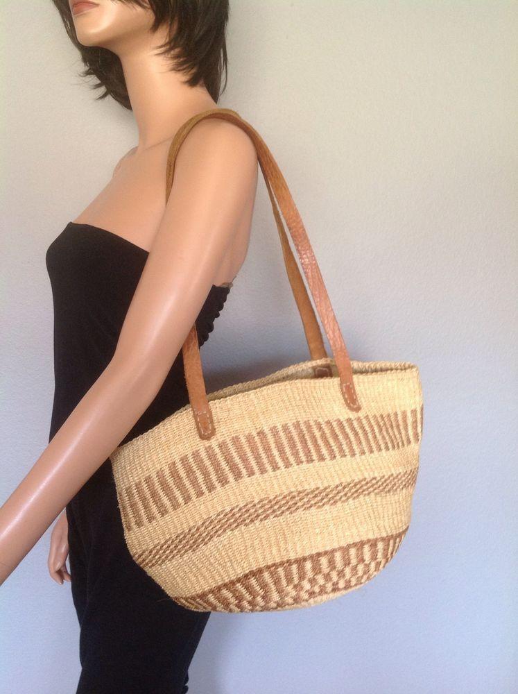 Sisal Straw Bag Artisan Woven  Hip Boho Spring Summer Tote Natural Color   #Handmade #TotesShoppers
