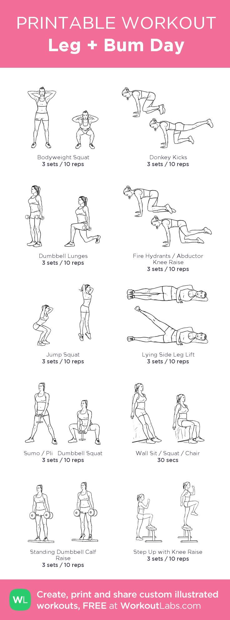 Leg Bum Day Workout Health Fitness Pinterest Mh Summer Sixpack Challenge The Dumbbell Circuit