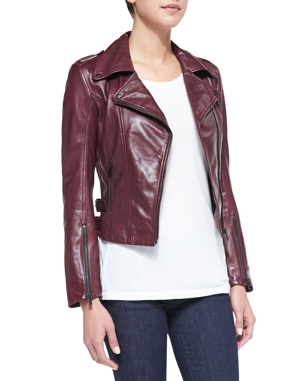 LaMarque Joanna Asymmetric Leather Jacket, Burgundy