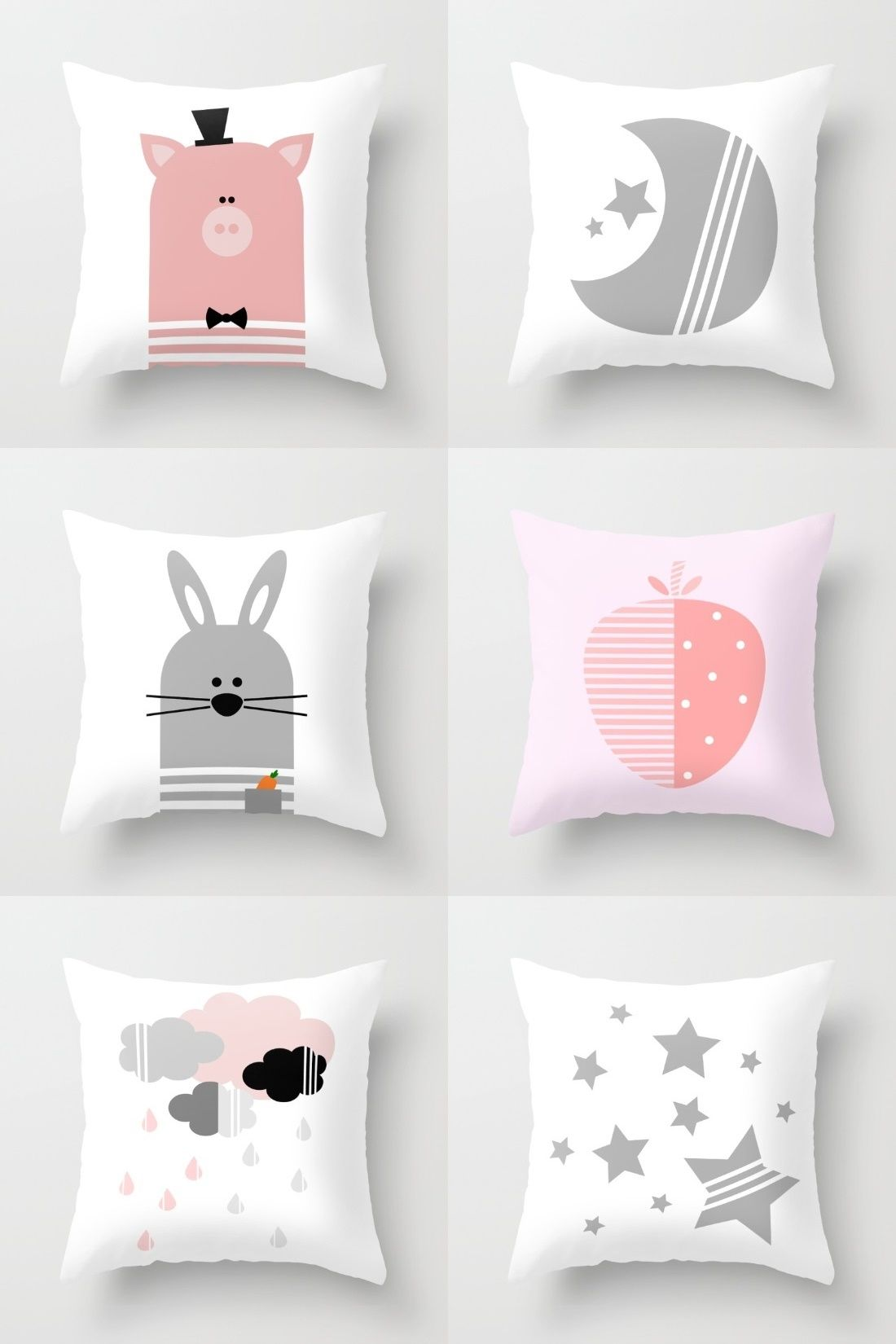 Pink And Gray Nursery Or Kids Room Decorative Throw Pillows On Society6 Bunny Pillow