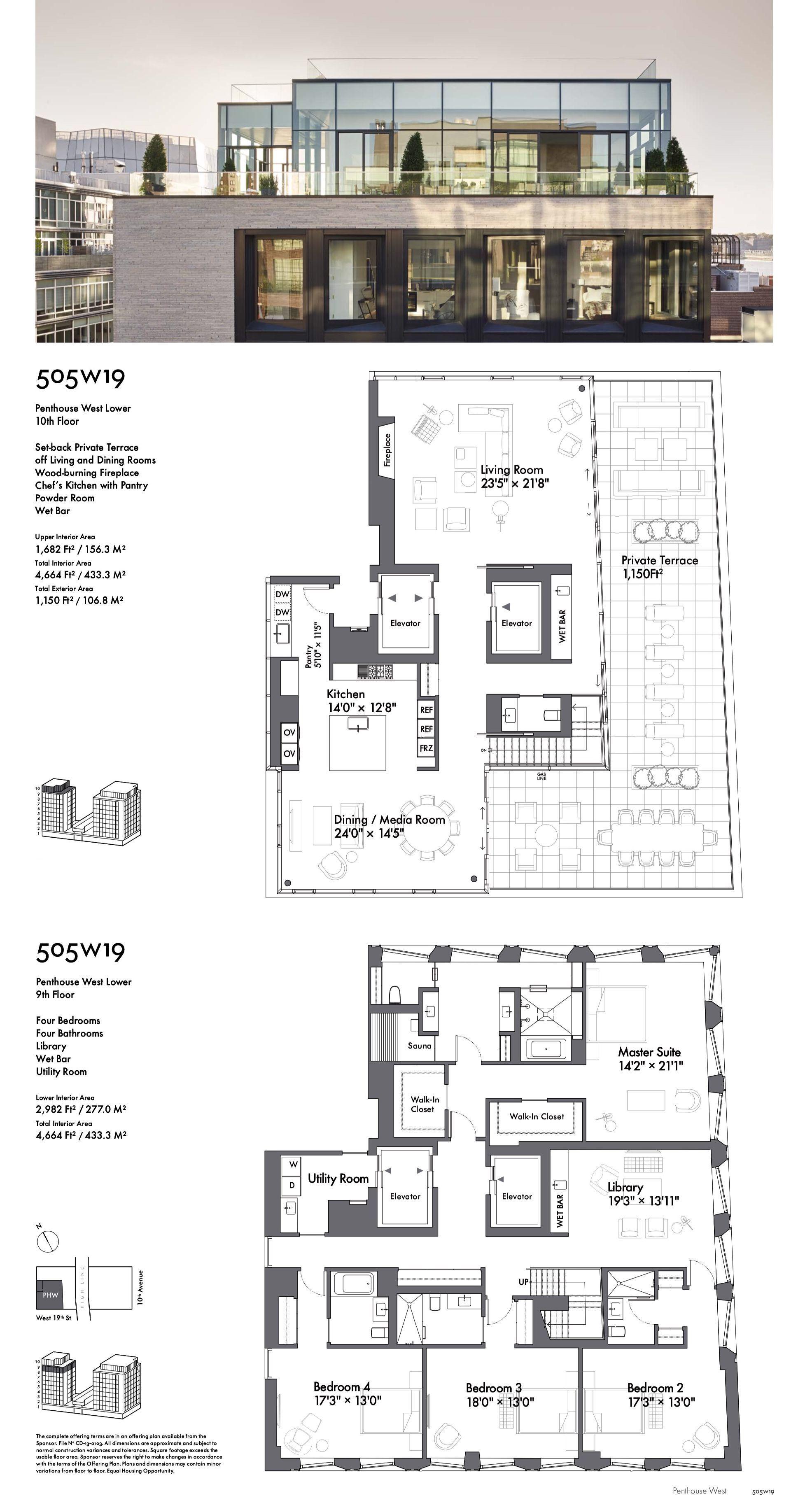 505 West 19 Street Penthouse West House Blueprints Arsitektur Modern Tata Letak Rumah