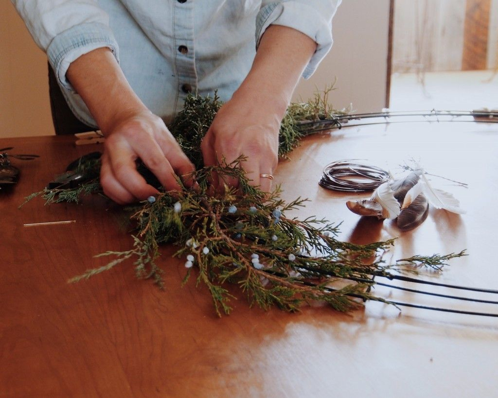 wreath making for the holidays on the Bucket Feet blog!