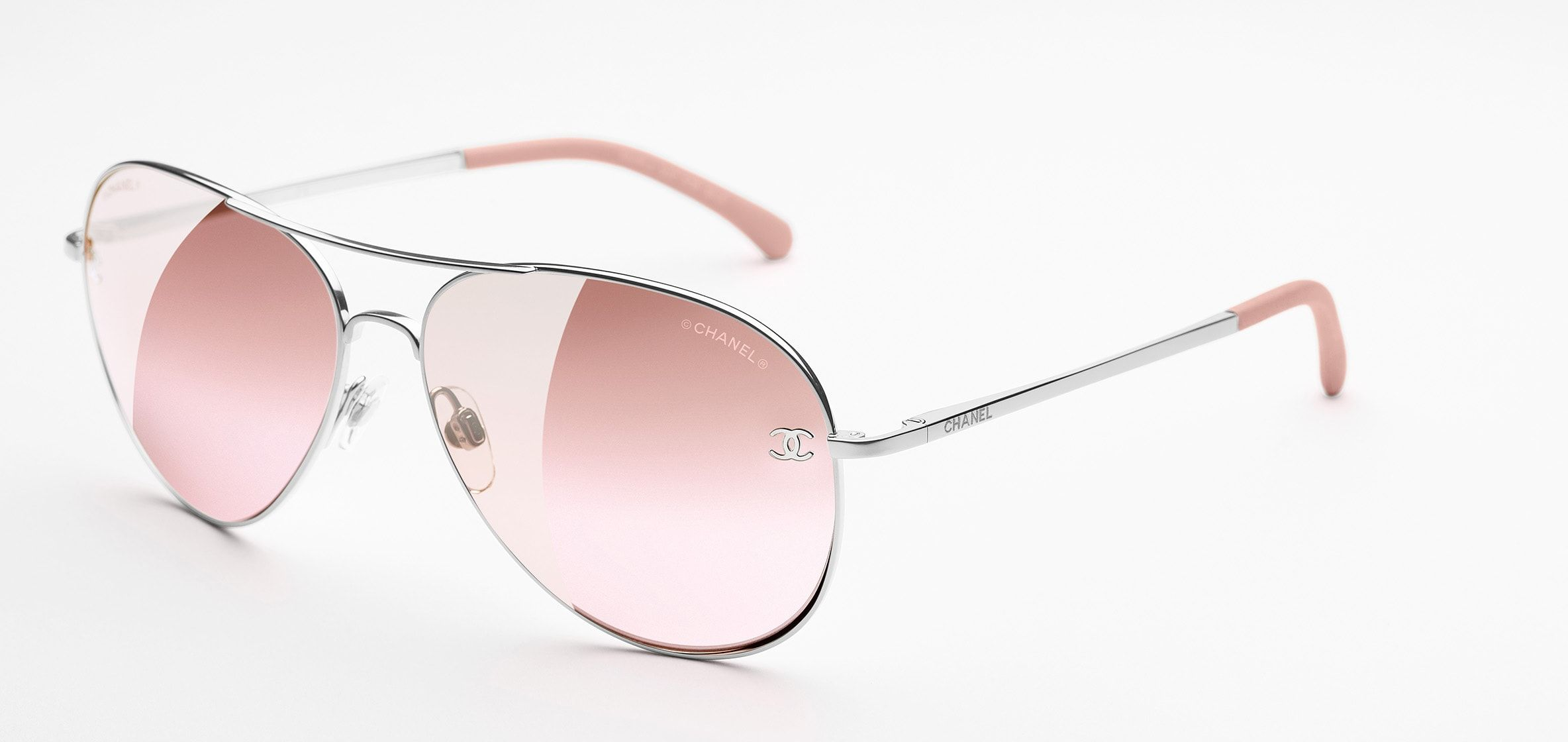 4e1113cd10777 Silver   light pink Pilot Signature Chanel Sunglasses with Pink Mirror  Lenses