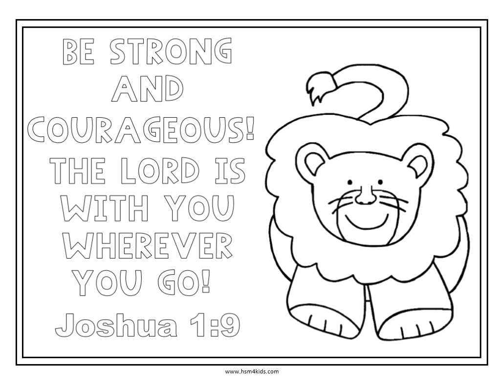 be strong and courageous free bible coloring worksheet kids