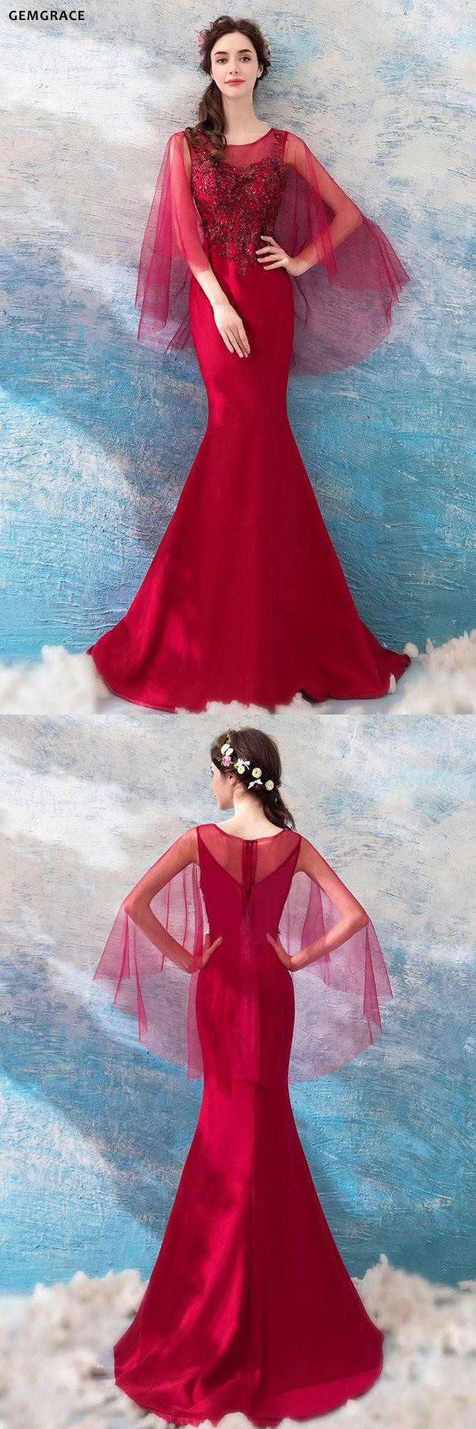 [$120.28] Classy Burgundy Cape Sleeve Mermaid Prom Dress ...
