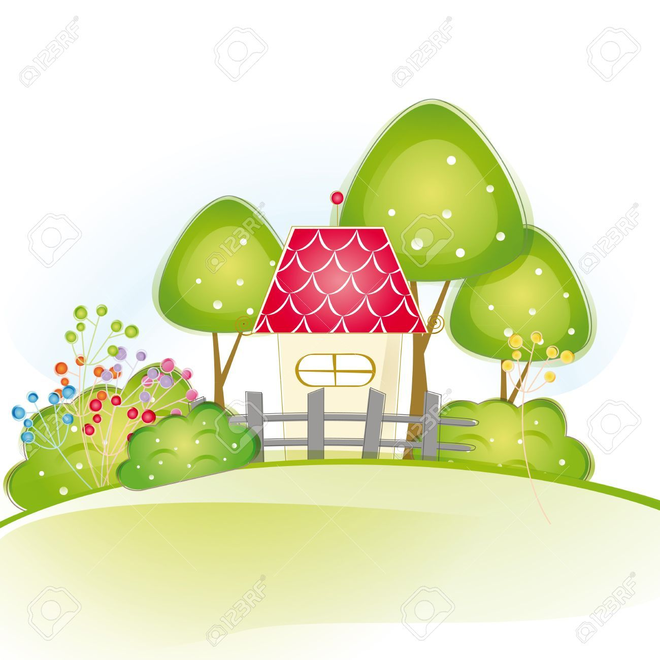 16005520 colorful view with cute house and trees stock vector
