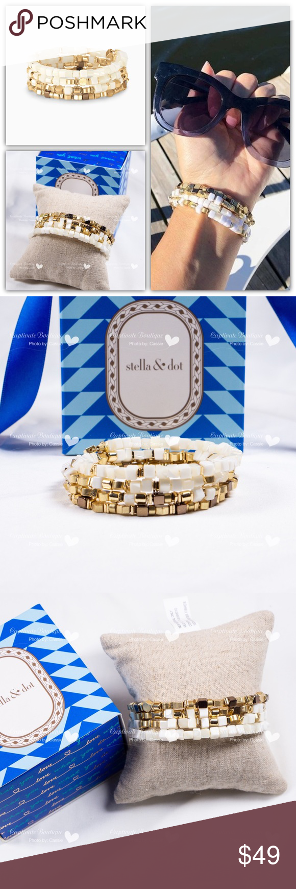 5179b24ea82 Stella and Dot Gia Coil Bracelet Brand new in box Shiny and vintage gold,  bronze, and white alternating dimensional beads coil into a spiral bangle.