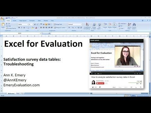 Excel for Evaluators w Ann Emery Program evaluation, research - excel assessment