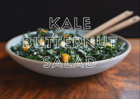 Kale and Butternut Squash Salad with Maple Curry Dressing — Athlete Food #athletefood