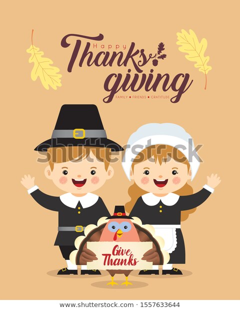 Find Cute Cartoon Pilgrim Boy Girl Turkey stock images in ...