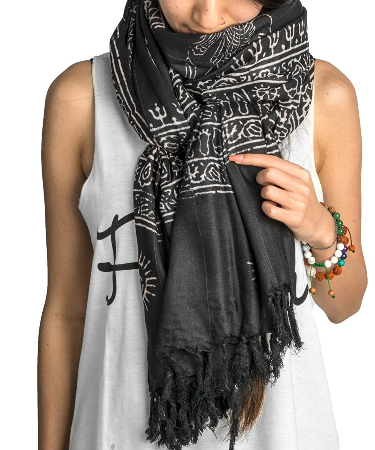 Large Om Scarf Wrap Yoga 100 Soft Cotton Hand Printed