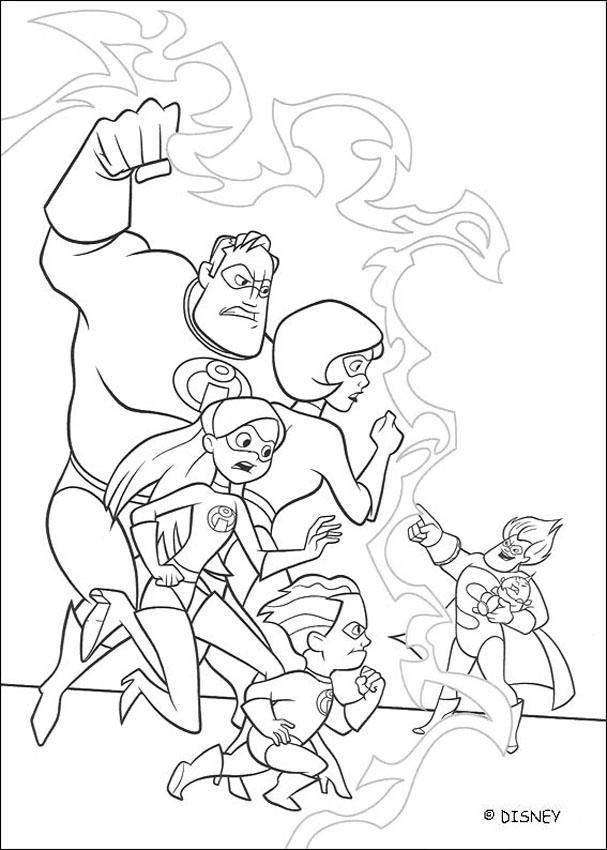 Here A Coloring Page Of The Incredibles Mr Incredible Elastigirl Violette And Dash Fighting Against Disney Coloring Pages Coloring Books Cool Coloring Pages