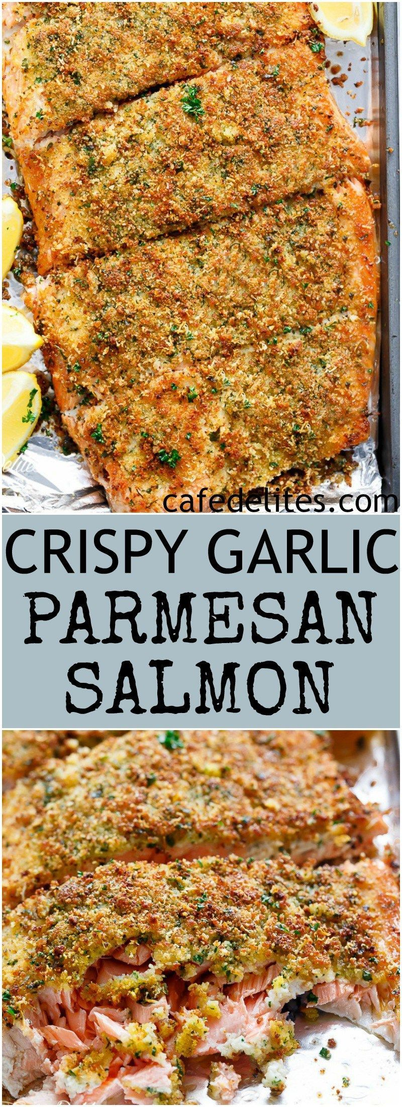 Crispy Garlic Parmesan Salmon is ready and 0n your table in less than 15 minutes... -  Crispy Garli