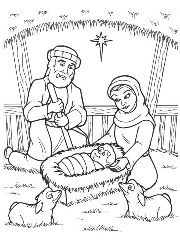 Nativity, Jesus is Born in a Manger in Nativity Coloring Page: Jesus ...