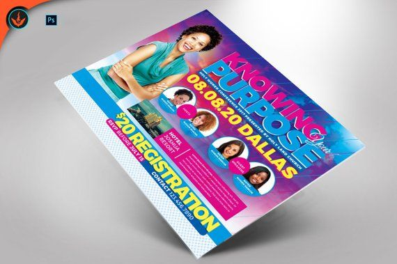 Knowing Your Purpose Women's Conference Flyer Photoshop Template 6x4