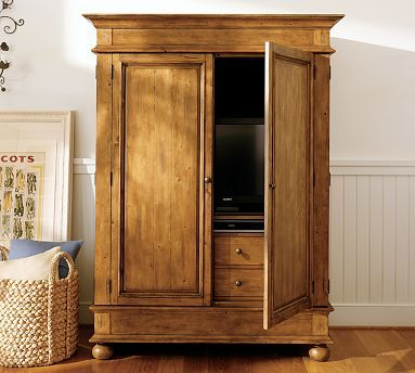 Belvedere armoire pottery barn armoires pinterest armoires pottery and living rooms for Bedroom armoire with tv storage