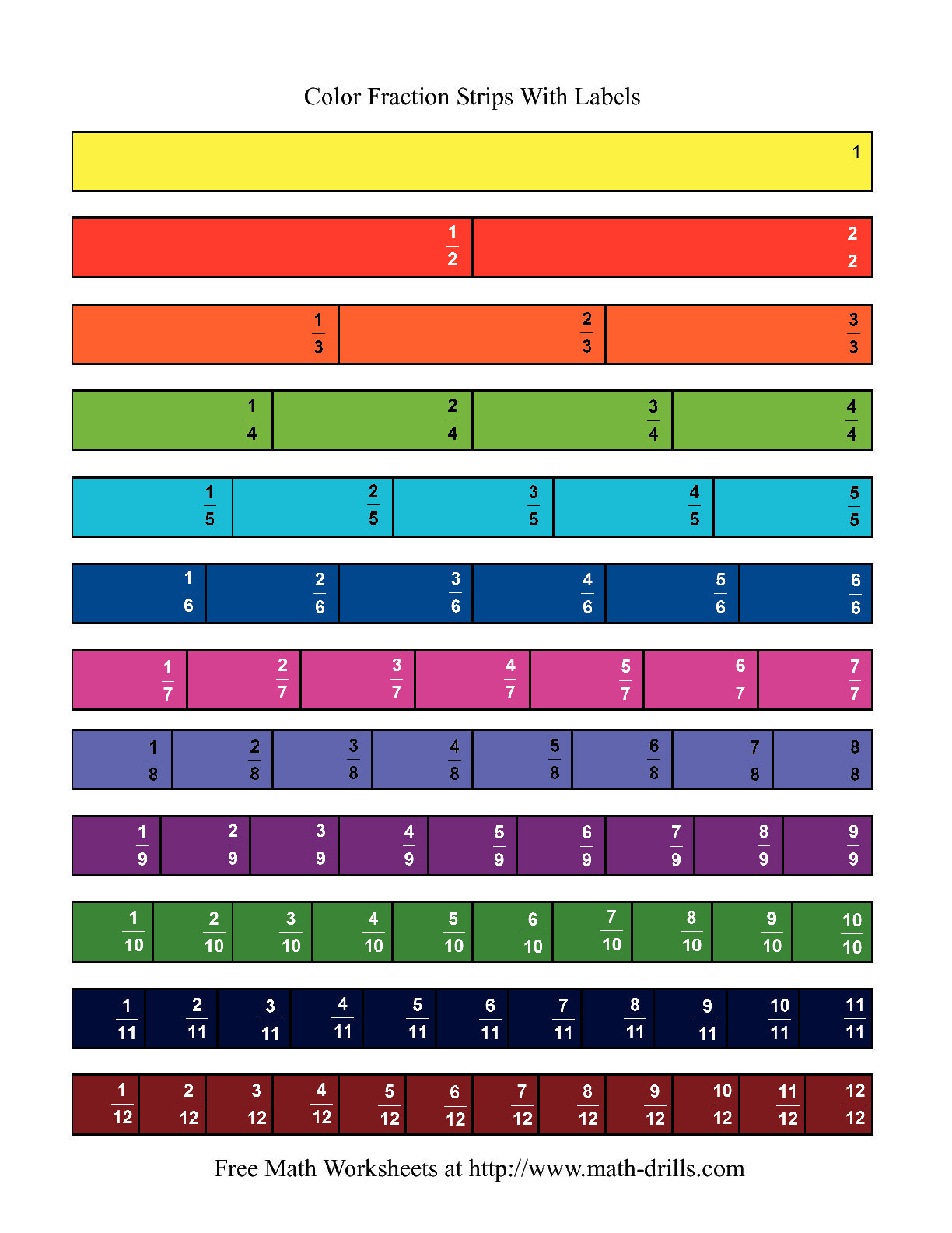 The Color Fraction Strips Labeled Math Worksheet From