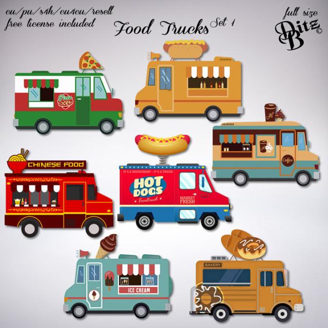 Food Trucks Set 1 Food Truck Clip Art Digital Scrapbooking