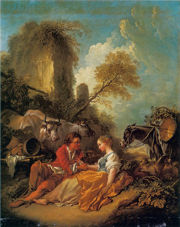 A Pastoral Landscape With A Shepherd And Shepherdess by Francois