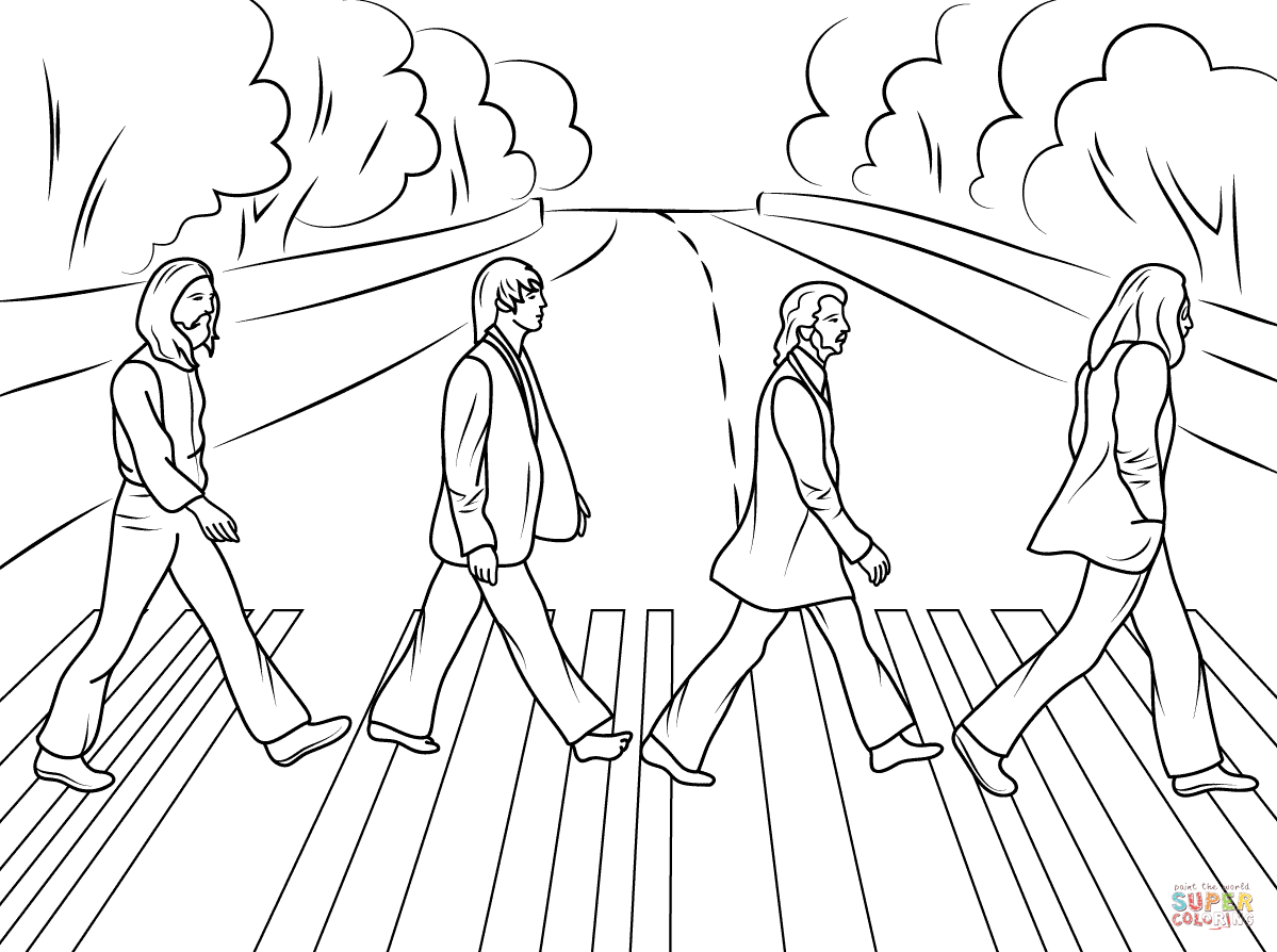 the beatles abbey road cover photo  super coloring