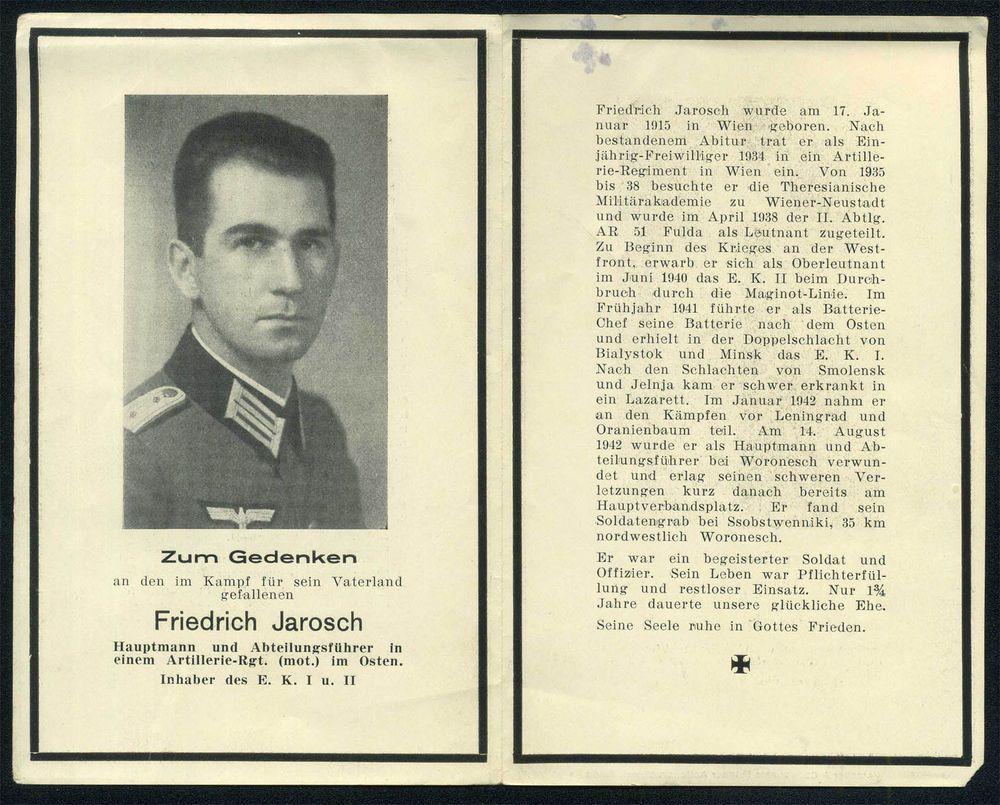 orig WK2 STERBEBILD - DEATH CARD - HAUPTMANN - OFFIZIER - Abt. Führer Art. Regt.