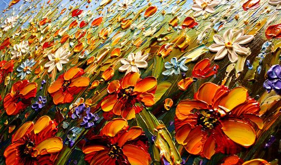 48 Wild Flowers Field Original Abstract Modern by Artcoast on Etsy