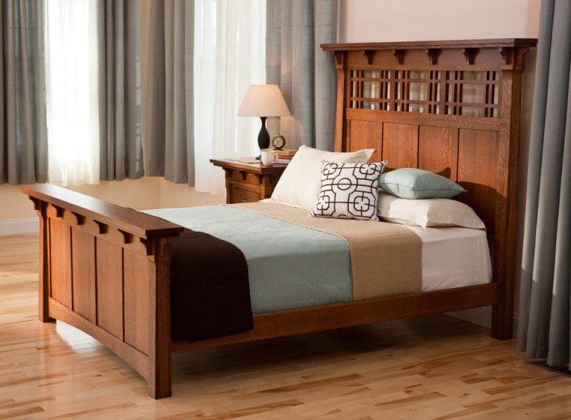 craftsman bedroom design dark hardwood bed frame with higher headboard multicolored bed linen light toned and - Mission Style Bed Frame