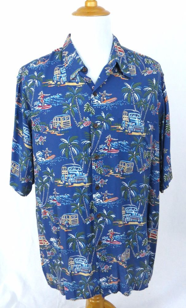 Reyn Spooner Shirt XXL Art Of Eddy Y Hawaiian Woodie Car Surfer Palm Tree Oasis #ReynSpooner #Hawaiian
