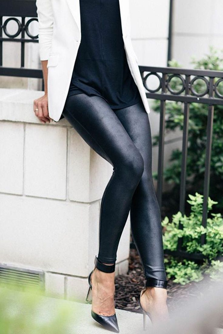 5a56b46be99d8 Faux Leather in 2019 | Styled in SPANX | Spanx faux leather leggings ...