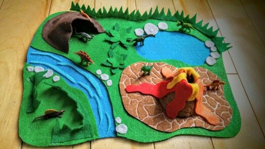 Felt Dino Land Play Mat Felt Play Mat Felt Toys Kids Playing