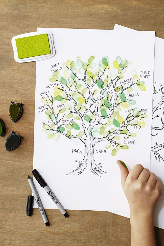 Thumbprint Family Tree Thanksgiving Craft Idea B B Gives Thanks