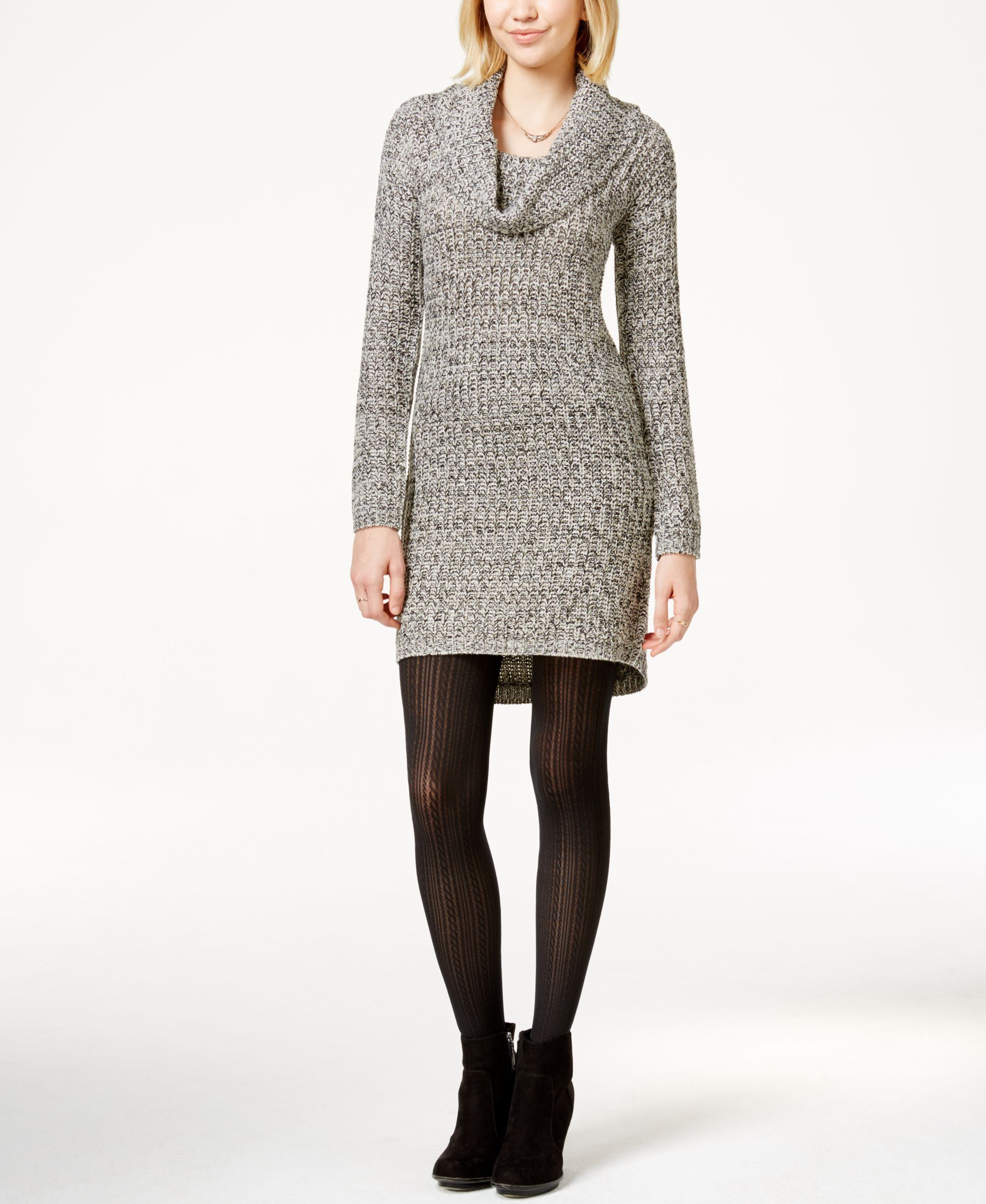 Ultra Flirt Juniors' Marled Cowl-Neck Sweater Dress | Products ...