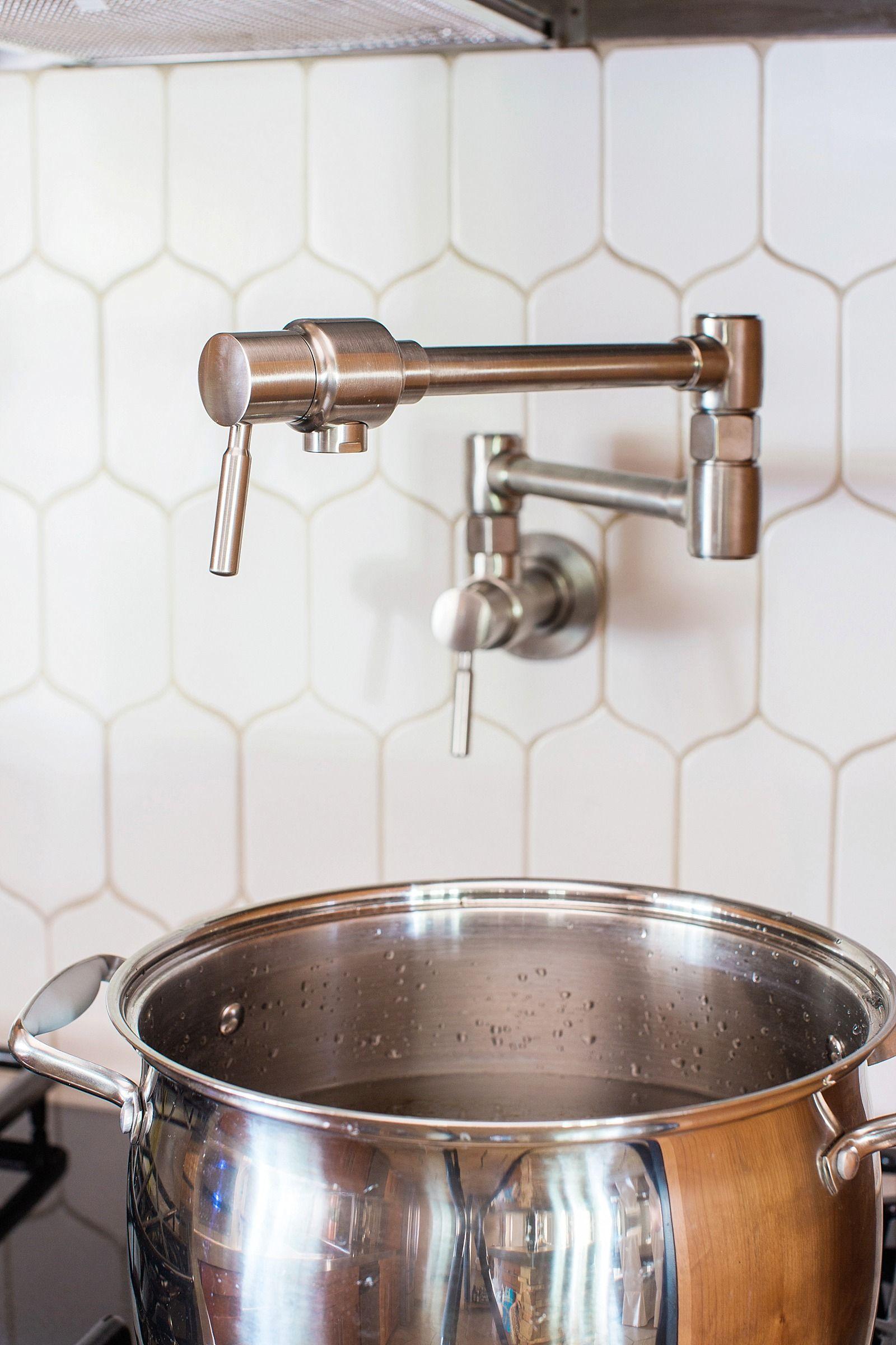 Kitchen Pot Filler Positioning + Install | White tile backsplash ...