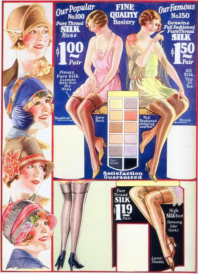 e988deed7d4 Wonderful hat and hosiery fashions from a Chicago Mail Order Co. ad ...