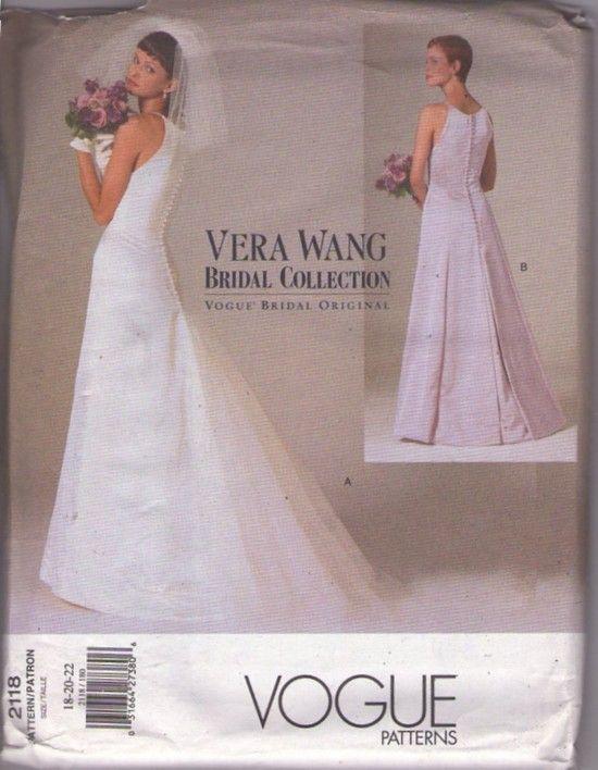 Momspatterns Vintage Sewing Patterns Vogue 2118 Retro 90 S Sewing Pattern Stunning Designer Vera Wang Brid Vera Wang Bridal Vintage Outfits Beach Bridal Gown