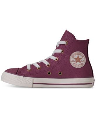 8dd2d546268d Converse Big Girls  Chuck Taylor High Top Leather Casual Sneakers from Finish  Line - Purple 6