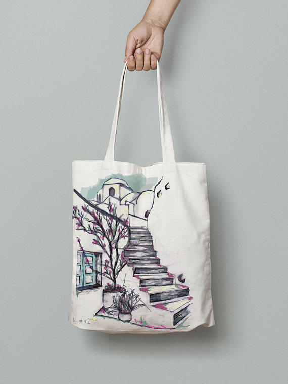 Beach bag tote shopper – Greek island paintings on a tote bag canvas ... 1c064ca3a