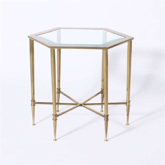 Pair Of Small Brass Mastercraft Side Tables With Glass Tops C