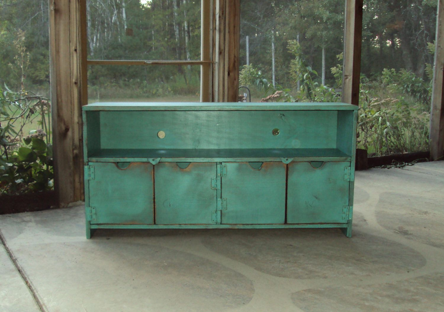 TV Cabinet Storage Bench 48 Inch Wide SHABBY CHIC Entertainment Center  Heavily Distressed Turquoise Primitive Wood
