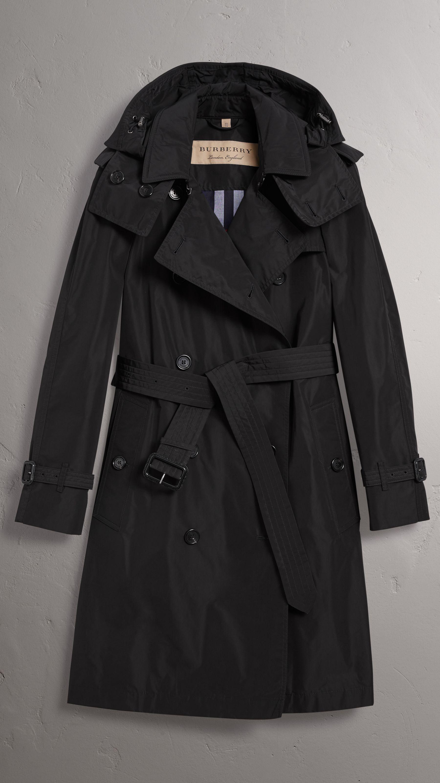 b6c10d9f28f Detachable Hood Taffeta Trench Coat in Black - Women | Burberry ...