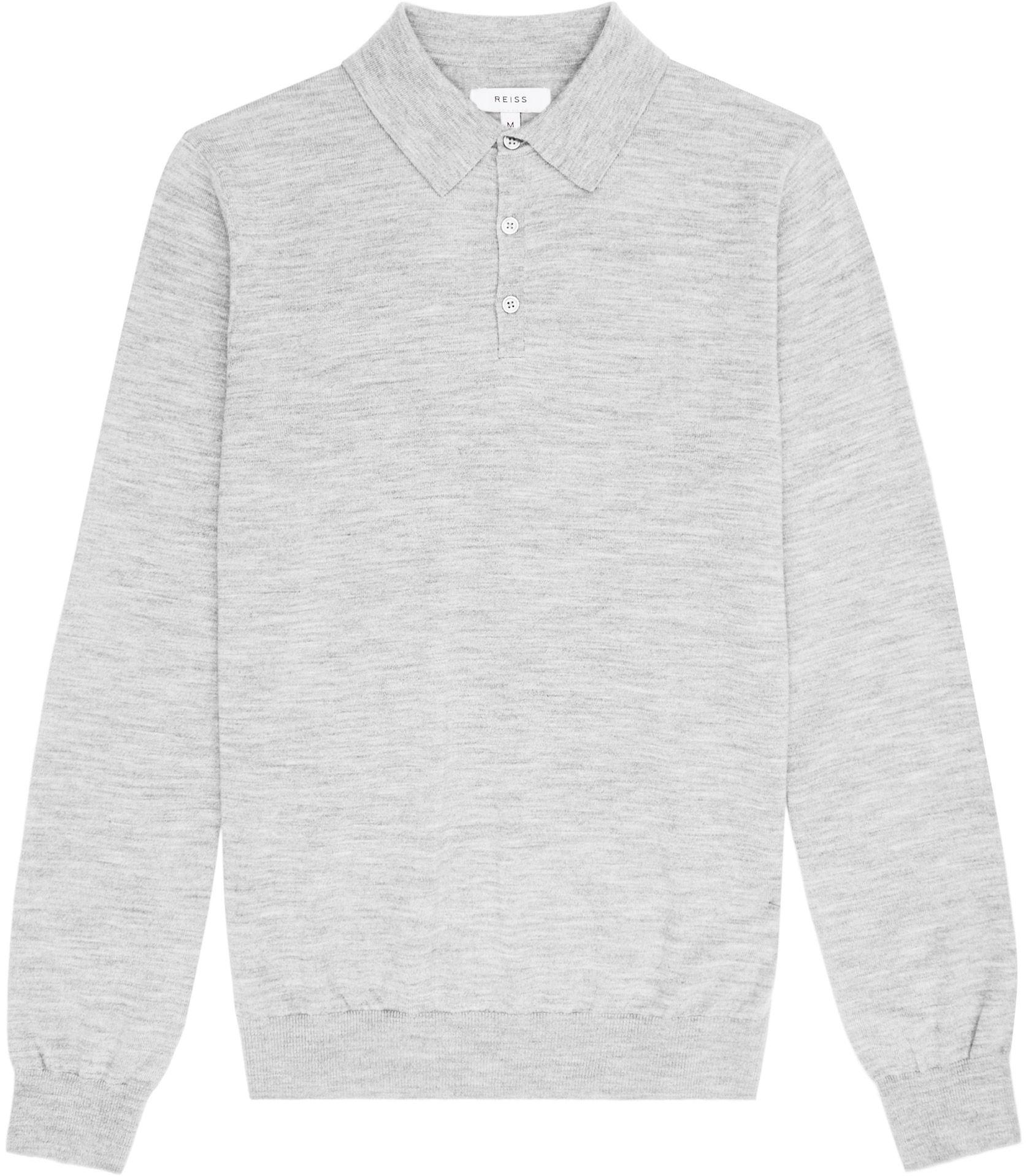 Black t shirt reiss - Mens Grey Merino Wool Polo Shirt Reiss Mansion