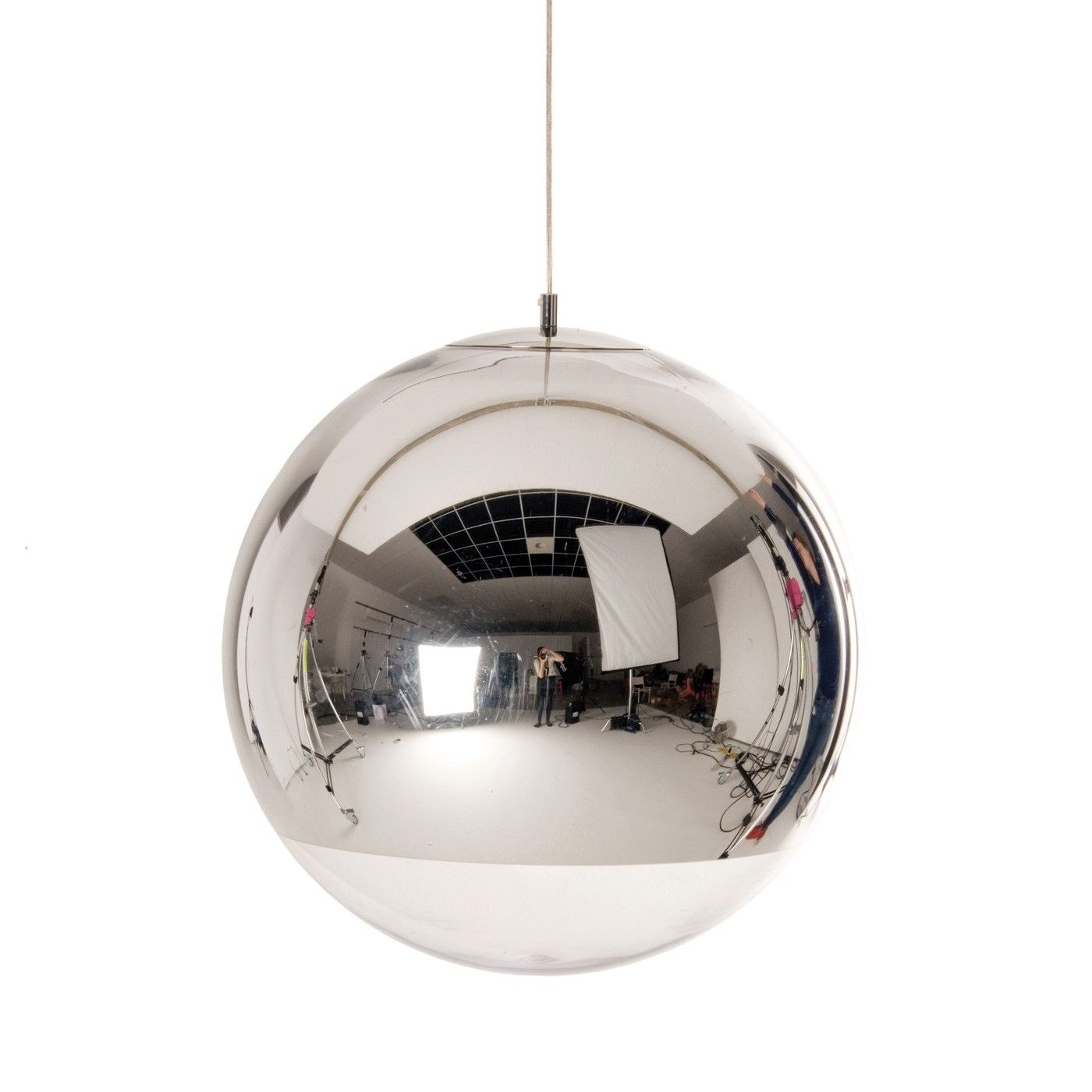 Add another dimension to your space with tom dixons futuristically mirror ball pendant light by tom dixon a highly reflective shade inspired by the space helmet the mirror ball is created by exploding a thin layer of pure aloadofball Choice Image