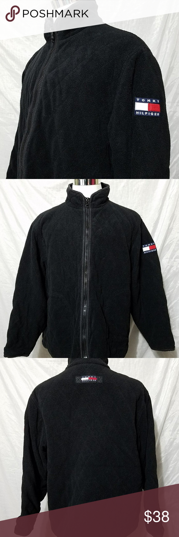 Vtg tommy hilfiger menus fleece jacket xl quilted my posh closet