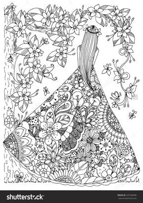 girl in a floral dress doodle flowers tree zen coloring ...