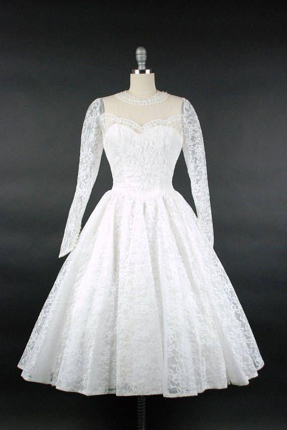 Vintage 1950s wedding dress is exquisite! This tea length dress is ...